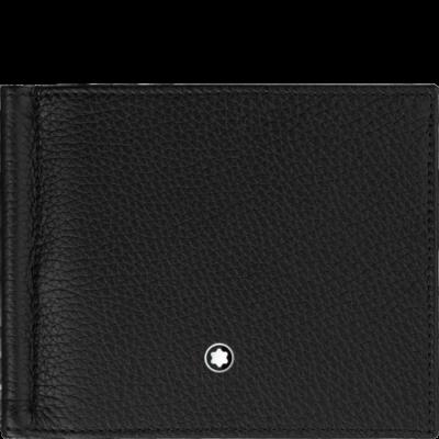 MONTBLANC Meisterstück Soft Grain bőr tárca 4cc, pénzcsipesszel, fekete, díszdobozban