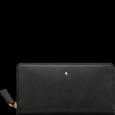 MONTBLANC Meisterstück bőr tárca 8cc zip, fekete, díszdobozban