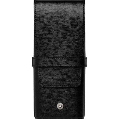 MONTBLANC Westside fekete bőr tolltartó, 3 tollhoz, díszdobozban