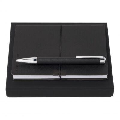 Hugo Boss ajándékszett. Fekete jegyzetkönyv és golyóstoll, díszdobozban.