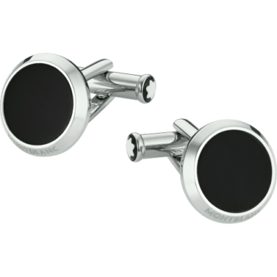 MONTBLANC mandzsetta gomb, rozsdamentes fém/fekete onyx, díszdobozban