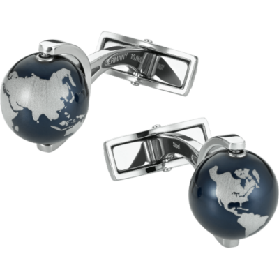 MONTBLANC Mandzsetta gomb, acél/kék földgömb, díszdobozban