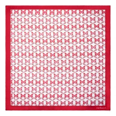 Cacharel Pontia vegan selyem kendő, piros színben (90x90 cm), díszcsomagolásban