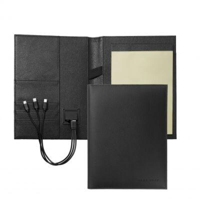 Hugo Boss Storyline A5 fekete mappa power bank töltővel